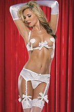 White wedding lingerie Sexy Open Bra G-string Thong Garter Suspender Belt Bow Gloves