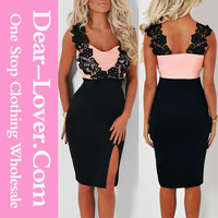 Dropshipping Lace Detail Thailand Fashion Dress 2015 Women Clothing