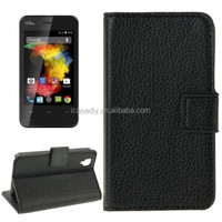 Litchi Texture Flip Leather Case with Holder & Card Slots & Wallet for Wiko Goa