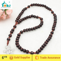 A&J Wood Bead 7 Decade Cord Rosary with San Damiano Franciscan Crown Cross Crucifix