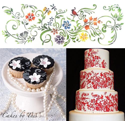 природы виньетка границы трафарет шаблон, трафарет дизайн торта новый стиль, Аксессуары для украшения торта границы кухни