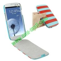 Fasionable Blue + Red Stripes Flip Leather Case for Samsung Galaxy S3 i9300