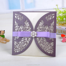 Simple butterfly chinese laser cutting invitation cards with purple silk