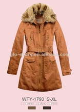 2012 new design lady fake leather pu long overcoat with fur collar