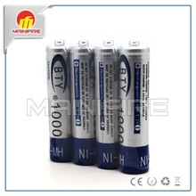 BTY AAA 1000mah NiMh 1.2v rechargeable battery with button top for flashlight