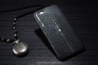 Pearl skin grain genuine leather funky mobile phone case for iphone6 case