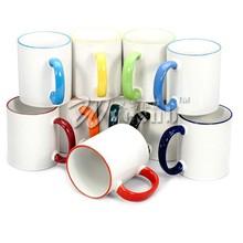Edge color 11oz mugs sublimation blanks DIY photo mug printing mug/cup