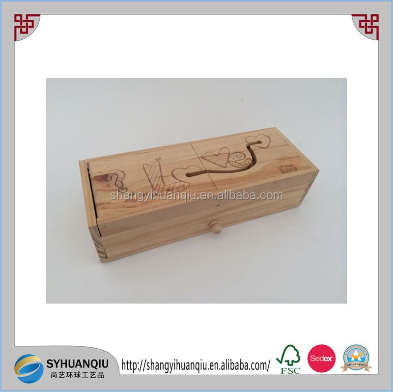 High quality carved wooden pencil box pen