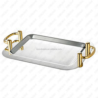 Stainless steel Square Mirror Food Plate with Gilded Handle