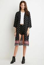 High quality hot sale long sleeve print kimono casual fashion women blouse