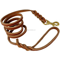 Braided Leather Dog Leads With Swivel Brass Snap Hook