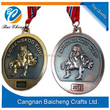 athletic sport zinc alloy medals with nylon lanyards in cheap price for running and ball games