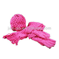 baby beautiful knitted hat scarf glove one set