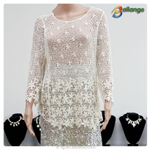 Bailange blouses & tops product type lace blouse new fashion hollow out elegant blouses for wedding