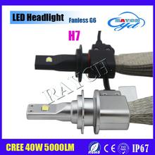 H7 led headlight 2015 new arriving 12-24V G6 fanless LED headlight bulb for all cars and motorcycles