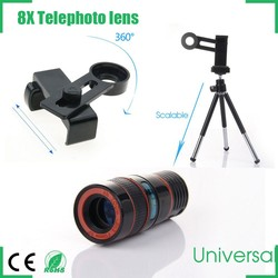 8x zoom telephoto lens with phone universal clip and mini tripod for iphone ipad samsung htc ipad
