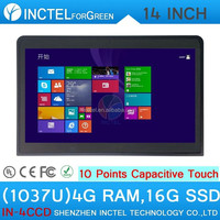 Black touchscreen all in one pc industrial embedded computer with Intel Celeron 1037u 1.8Ghz CPU 4G RAM 16G SSD