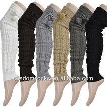 Fashion knitted winter women pom pom leg warmers
