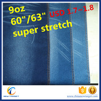 9oz satin 160cm super stretch denim fabric