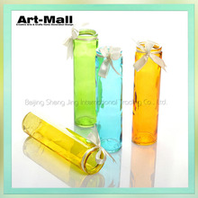 Long-stem stained glass vase,decorative wholesale glass vases