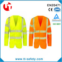 EN 20471adult cheap high visibility long sleeve security reflective safety jacket vests