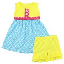 New Arrival Two Piece Boutique Kids Girls Dress And Short Childrens Boutique Fashion Toddler Girl clothing