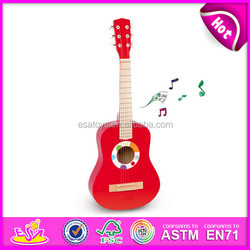 Colorful musical instrument wooden guitar for sale,wooden toy guitar with cheap price,wholesale wooden diy guitar toy W07H037