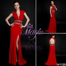 2015 red bling crystal bead cap sleeve V neck side split backless sexy evening dresses made in china