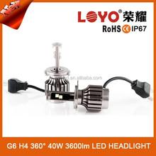 Emark High wattes 40w/pcs h4 led headlight,3600lm for hi beam I68 H4 headlight led,best seller
