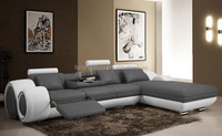 2015 modern style L shape furniture divan, latest living room grey leather sofa with chaise 109B