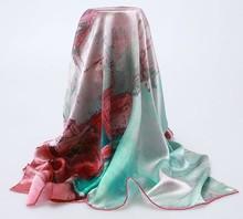 Digital print seaside town square scarf custom fabric printing