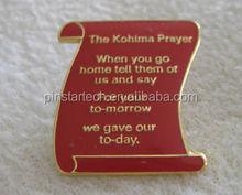 New Custom design personalized metal poppy pin badge souvenir