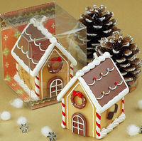 Cute home decoration Christmas Gingerbread House shape art candle