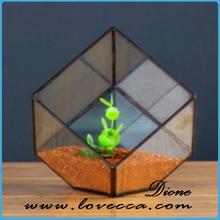 Geometric House Glass Terrarium, Modern Planter Glass Vase for Indoor Gardening
