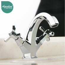 Double handle antique swan basin mixer tap