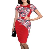 Stylish flower printed ladies official dresses smart casual dress ladies modern dress