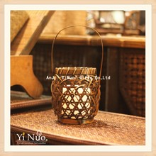 Moving wick led flameless candle with bamboo candle lantern