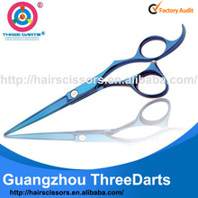 SuperStar Professional high quality stainless steel salon titanium color barber shears (blue&purple,6inch) TD-Ti760