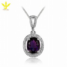 Solid 14K White Gold Natural 4.65ct Natural Amethyst Pave Diamond Pendant