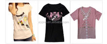 2015 China Supplier Custom Women T Shirt Blank Wholesale Customized High Quality Cotton Women T Shirt Printed Factory