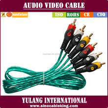transparent green color 3rca to 3rca audio video cables with fish eyes plugs in gold pin for Egypt