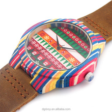 Latest design wooden bamboo watch colorful rainbow wood case quartz watches leather straps