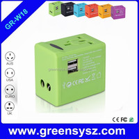 GR-W18 corporate gift universal electric travel adapter with 2 usb ports for traveling