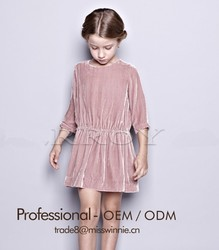 Latest girls' velvet pink dress frock design with long sleeve for 2-12 years old girls dress manufacture