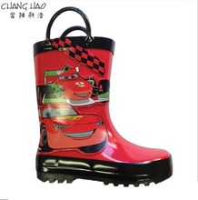 Environmental Rain Boot , Red Ground Has Racing Car Printing WithCar Patch Heart Natural Rubber With Handle For Boys