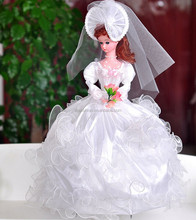 Elegant wedding dress barbie dolls with music and rotatable