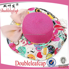 Sun Straw Hat Kids Girls Baby Lace Soft Brim Summer Beach Hat Floral Design Hat