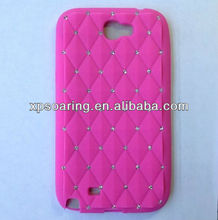 hot pink diamond silicone case for Samsung Galaxy Note II N7100