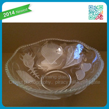 Classic Large Glass Shell Themed Crystal Bowl with Scalloped Edge