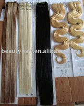 Hair extension wefts, different color human remy hair extension Russian